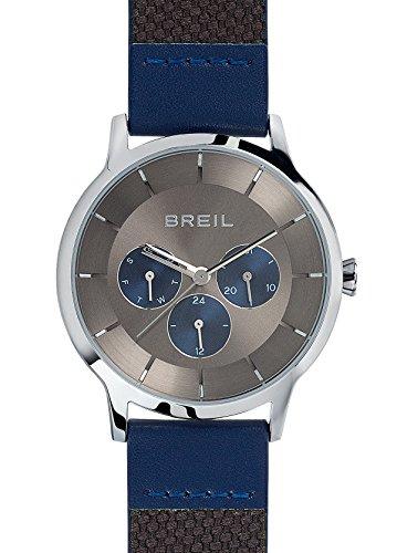 BREIL Men's TWENTY20 Watch Collection Mono-Colour Grey dial Multifunction Quartz Movement and GEN. Calf Leather Blue Strap TW1736