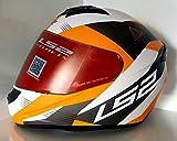 LS2 Full Face Designer Helmet FF-352 Trooper White Orange Matt , Mirror Visor, Large - 58 Cms