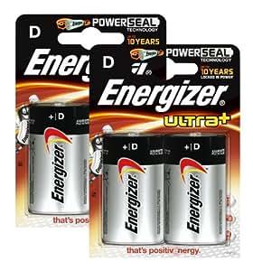 Energizer Lot de 2 x 2 piles Ultra Plus Mono D 1,5 V