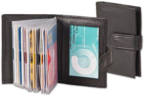 """Titolare della carta di credito XXL """"Rimbaldi"""" con 19 scomparti per carte in morbida pelle di vitello trattata Nero"""
