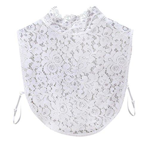 Seide Ketten-print T-shirt (Kanpola Damen Kragen Puppe Abnehmbare Kragen Shirt Bluse Spitze False Kragen (M, Weiß))