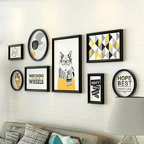 &Murs décoratifs Galerie de photos Ensemble de cadre de mur avec des illustrations utilisables et une famille, ensemble de 8 Design à la mode ( Couleur : E )
