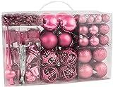Brubaker - Boules de Noël & Pointe de Sapin - 101 Pièces/Coffret XXL - Décoration de Noël Traditionnelle - Rose