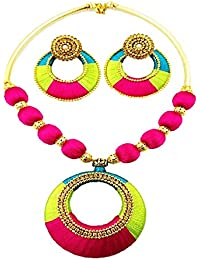 Party Wear Green & Pink Silk Thread Necklace Set For Women New Model