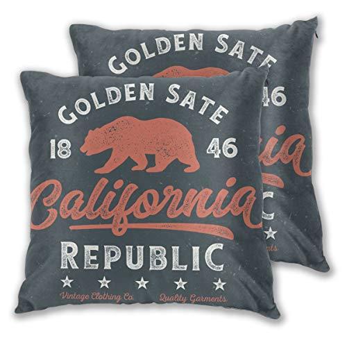 Kissenbezug 2er-Set, Golden State California Republic - T-Shirt Design für Print, 18 x 18 Zoll -