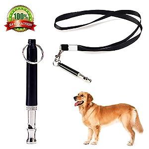 Jinzhao Sifflet de Chien pour arrêter l'aboiement-Dog Training Outil Réglable de Contrôle d'écorce ultrasonique de Lancement dans la Couleur Noire avec la Courroie de Lanière Libre/Noir