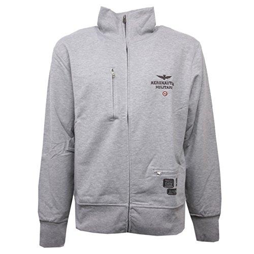 Aeronautica militare c1044 felpa uomo grigio chiaro con zip sweatshirt men [l]
