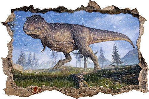 T-Rex Dinosaurier in der Natur Kunst Buntstift Effekt Wanddurchbruch im 3D-Look, Wand- oder...