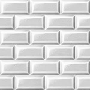 Papier peint carrelage metro blanc trompe l 39 oeil rouleau de 10 m cuisine maison - Papier peint sur carrelage ...