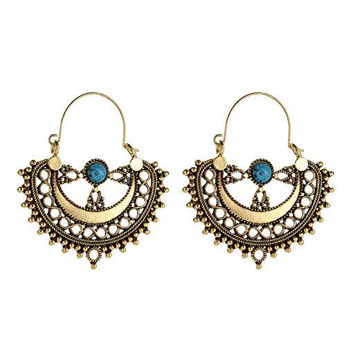 display08 Orecchini, etnici Hollow Pattern Artificiale lampadario turchese ciondola gli orecchini delle donne regalo - d'oro
