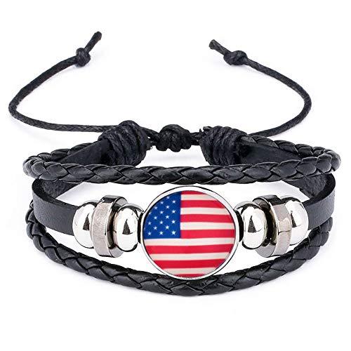Vereinigte Staaten Abschnitt Nationalflaggen Armband Albanien Armband aus Leder geflochtenen Seil Armband Albanien Flaggen für Männer und Frauen