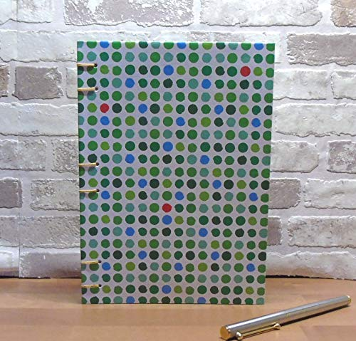 Notizbuch A5 - mit grünen, roten und blauen Punkten // Tagebuch // Blankobuch // Geschenk //...