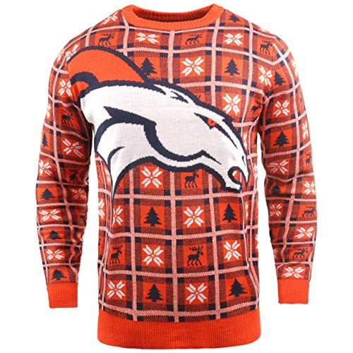 BIG NFL Ugly Sweater Pullover Christmas Denver Broncos Logo Weihnachtspullover (X-Large)