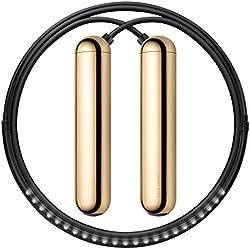 Tangram de fábrica LED Integrados para indicar revoluciones Smart Cuerda de Saltar, Unisex, 148383, Dorado, L