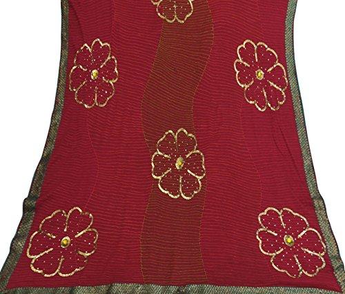 Antike Jahrgang indischen Sarong Maroon Georgette Saree Bestickte Kleidung Sari (Sari Maroon)