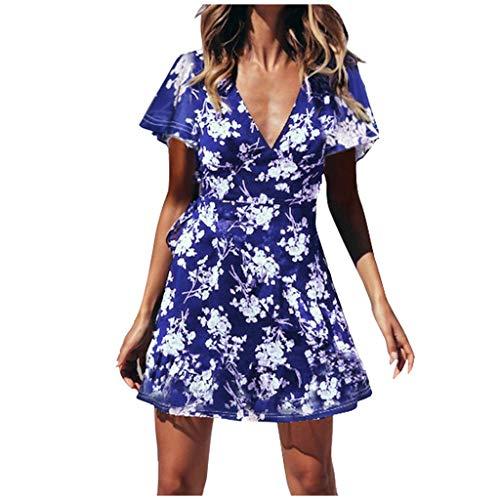 YUHUISTART Frauen Kleid Sommer Kurzarm V Ausschnitt Sommer Boho Floral Mini Print Kleid Damen Urlaub Strand Kleid Tiered Floral Print Rock