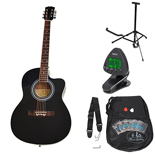 ts-ideen 5331 - Kit de guitarra acústica, color negro