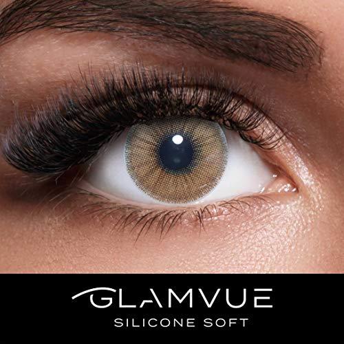Braun Kostüm Soft - GLAMVUE SILICONE SOFT Dubai Brown + Behälter I Sehr stark deckende braune natürliche Kontaktlinsen farbig I 1 Paar (2 Stück) I DIA 14.00 I ohne Stärke