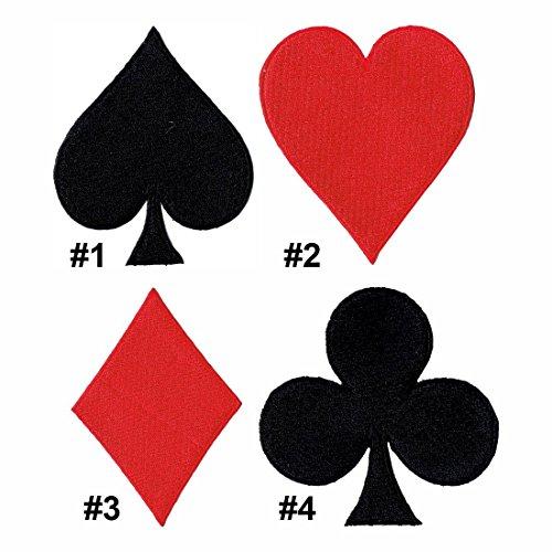Lucky Patches, Aufnäher, Applikation, Aufbügler, Iron on Patch - Spielkarten, Kartenspiel, Ass, Herz, Karo, Pik, Poker, Rommé, Canasta - 4 pcs