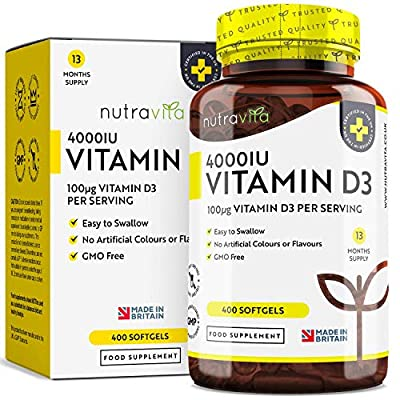 Vitamin D 4000 IU 400 Days Supply   Maximum Strength Easy to Swallow 400 Softgels for Bone & Joint Maintenance (Vitamin D3 Cholecalciferol)   Scientifically Manufactured by Nutravita