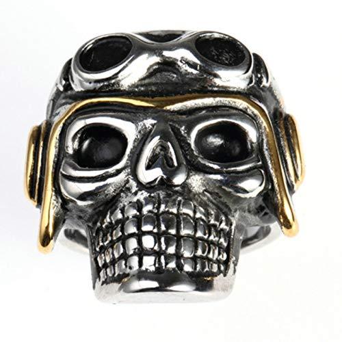 Amody Gotische Edelstahl Bandringe für Herren Punk Rock Pilot Schädelring Silber Gotische Ringe Größe 65 (20.7) (Pilot Boy Kostüm)