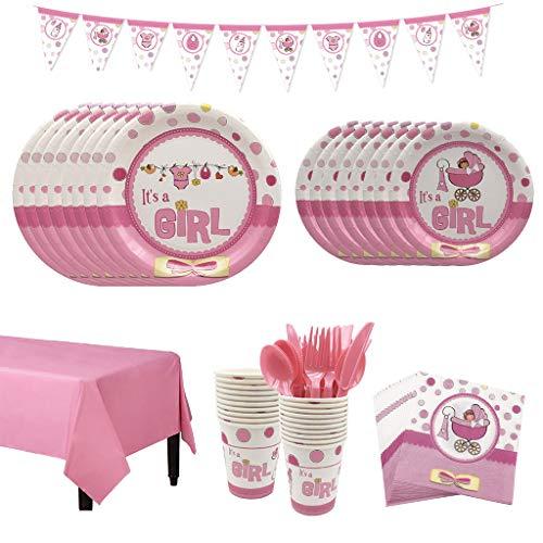 Amycute 66 pcs Vajilla de Cumpleaños Niña Happy Birthday Fiesta Rosa Vajilla Desechable para 8 niños de cumpleaños, Cumpleaños de niño Fiesta Deco Baby Shower