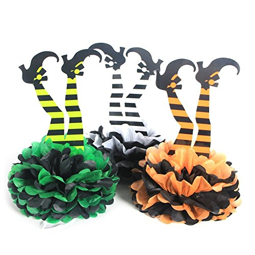 SUNBEAUTY Halloween Witch 's Boot DIY Papier Pom Poms Blumen Halloween Party Hänge Deko 3 Orange Grün Grau