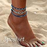 TAOtTAO 3pcs Böhmen Silber Welle Fußkettchen Armbänder für Frauen Seil Strand Fußkettchen Schmuck