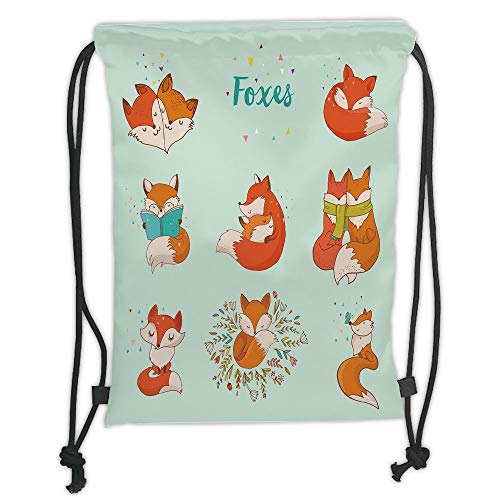 WTZYXS Drawstring Sack Backpacks Bags,Fox,Lovely Fox Characters Sleeping Reading Romantic Couple Nature Collection Kids Comic Decorativetrin,5 Liter Capacity,Adjustable. (Fox Bag Gear)