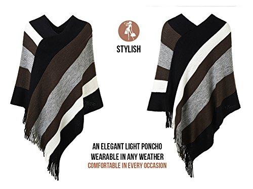 Ferand Gestreift Gestrickter Poncho Schal im Wickeldesign mit gefransten Seiten für Frauen Braun & Grau