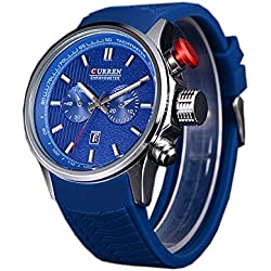 ufengke® fashion calendar waterproof quartz watch for men boys-blue strap blue dial,decorative small dials