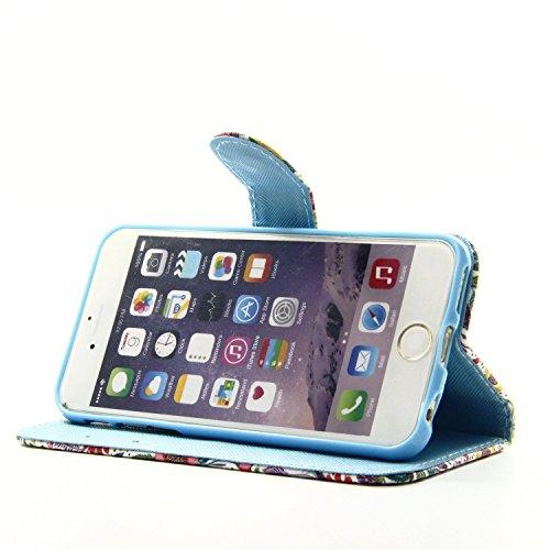 Etche Schutzhülle für iPhone 6 Plus/6S Plus 5.5 Zoll Hülle,iPhone 6 Plus/6S Plus 5.5 Zoll HandyHülle bunt Muster,iPhone 6 Plus/6S Plus 5.5 Zoll Brieftasche Ledertasche, Luxus niedlich Cartoon PU Leder Campanula Meer