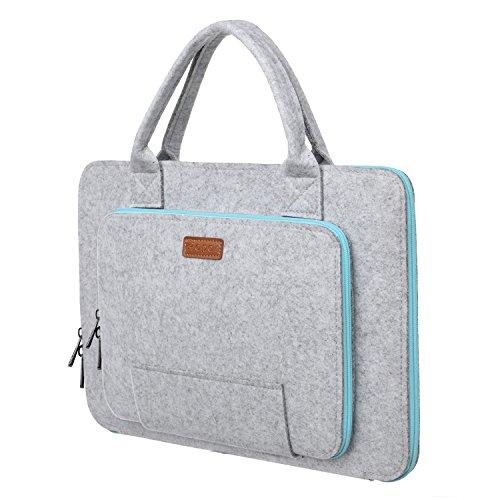 Ropch 11.6 Zoll Laptophülle Laptoptasche Aktentasche Schutzhülle für Laptop Notebook Chromebook - Grau & Hellblau