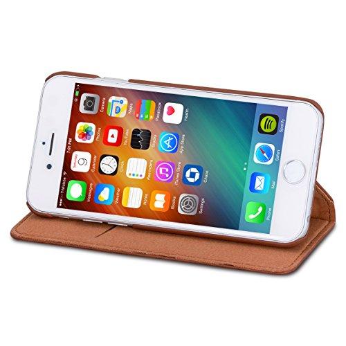 """Etui iPhone 8 Plus / Etui iPhone 7 Plus Noir - CASEZA """"Oslo"""" Coque Cuir Végétalien Housse Folio à Rabat Portefeuille Livre en Simili Cuir pour Apple iPhone 8 Plus & 7 Plus - Fermeture Magnétique Marron iPhone 6/6s"""