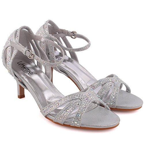 Unze Femmes Geegy Diamante Embellis Strappy Mi-Haut Talon Aiguille Soirée Soirée Carnaval Rejoindre Brunch Mariage Talon Sandales Court Chaussures Taille 3-8 Argent