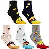 CNNIK 5 Paar Damen Socken für den Winter, Pizza Kuchen Pommes Frites Donuts Hamburger Nette Neuheit Lustige Cartoon Baumwollsocken für Damen