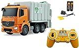 BUSDUGA RC Mercedes-Benz Antos LKW - Müllwagen ferngesteuert und per Knopfdruck den Mülleimer leeren, 2.4Ghz - Licht - Sound - komplett Set (Grau)