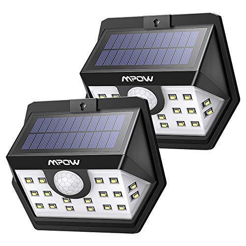 Mpow Luz Solar 500lm, 20 LED Lámpara Solar de Exterior, 270º Gran Angular de Iluminación con Sensor de Movimiento de 120°, Foco Solar Impermeable para Jardín, Garaje, Camino, Patio, 2 Piezas