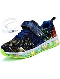 Mr.Ang Zapatos LED Deportivos Para Niños Niñas 7 Color USB Carga LED Luz Glow Luminosos Zappatillas Light Up USB Velcro Flashing Zapatillas