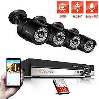 Jennov 5MP PoE Überwachungssystem 4CH NVR Überwachungskamera Set mit 4x 2560P Sicherheitskameras unterstützt Audio H.264+ 1TB Festplatte APP Fernzugriff 30m Nachtsicht IP66 wasserdicht für Außen Innen