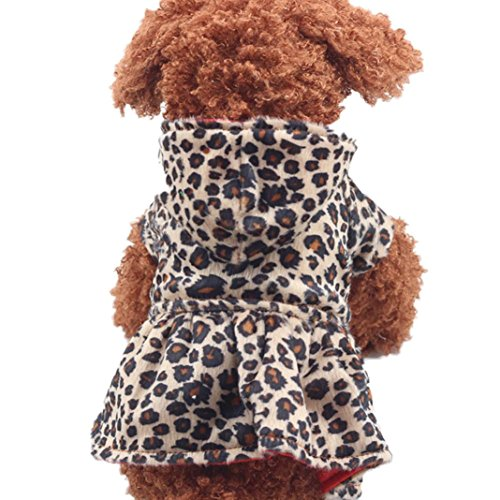 Saingace Hundbekleidung Hunde Kleider Haustier Kostüm Bekleidung Haustier-Hunde Leopard-Kleid-Oberseiten-Welpen-BaumwollHoodie-Kleidung (Ihrer Aus Kostüme Kleidung Halloween Eigenen)