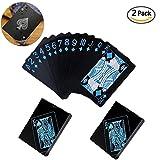 Shuxy 2Pcs Carte da poker impermeabili Nero assoluto Set di carte da gioco PVC Poker professionale da poker Alta qualità Poker in plastica Carta di collezione preziosa per il gioco da tavolo classico