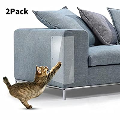 In hand Furniture Scratch Guards, 2Pcs Premium Flexible Clear Cat Scratch Protector with Pins for Protecting Your Upholstered Furniture, Stops Scratching Cats Furniture Protector by In hand