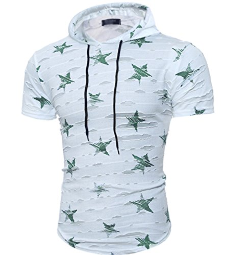 CHENGYANG Herren Stern Drucken Casual Bluse mit Kapuze Kurzarm Löcher T-shirts Grün