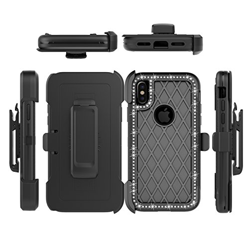 iPhone X Case, Four Layer Full Body Rugged Defender Cover, VMAE 360 Degree Rotary Belt Clip & Kickstand Anti-slip Case, PC TPU Combo Hybrid Protective Case for iPhone X 5.8 Inch (Black) Black
