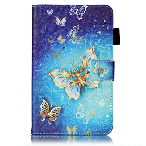 Kompatibel mit Galaxy Tab 4 7.0 Zoll SM Ledercase Handyhülle Hülle Tasche Wallet Bookstyle Flipcase Folio Handytasche Kartensätze Magnetisch Ständer Rückschale Handycover,Gold Schmetterling
