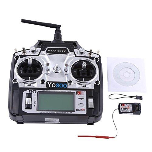 GOTOTOP Flysky FS-T6 Handheld Radio Remote Control 2.4 GHz 6 RC Channels Remote Control Transmitter + MK Receiver