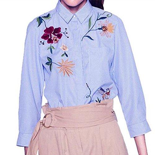 WOCACHI Damen Shirts Frauen Langarmshirts Streifen Blumenstickerei Special entwarfen Unregelmäßige Bluse Tops Blau (L, Blau)