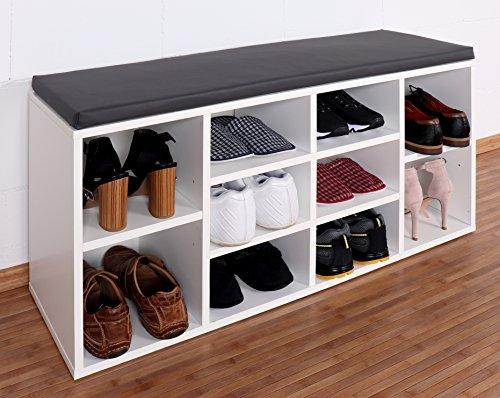 RICOO Schuhregal mit Sitzfläche Schuhschrank WM033-W-A Schuhablage Schuhkommode Organizer Boden...