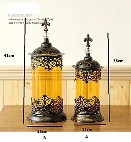 continental kerzenständer tabelle bronze ornamente retro - eisen - glas - laterne im boden goldene kerzenhalter,b